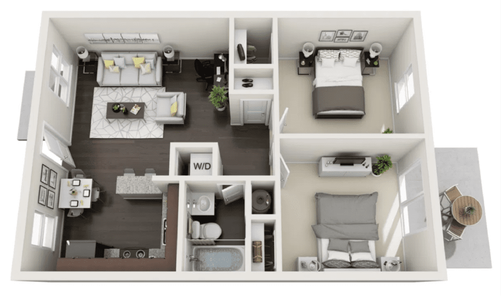 Floor plan layout of a 2 bedroom 1 bath apartment, 709 square feet in size.