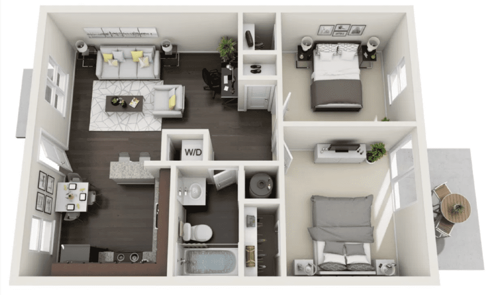 Floor plan layout of a 2 bedroom 1 bath apartment, 738 square feet in size.