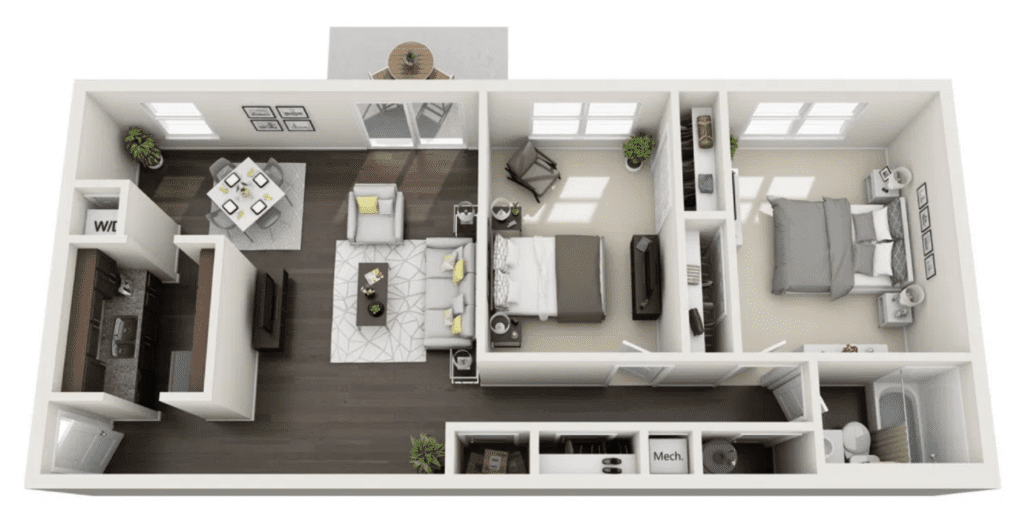 Floor plan layout of a 2 bedroom 1 bath apartment, 894 square feet in size.