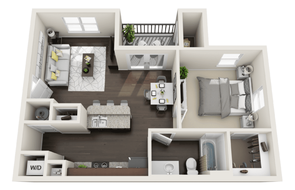 Floor plan view of a 1 bed 1 bath apartment. 714 total square feet in size.