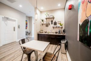 A nice, spacious coffee bar is just one of the amenities available at Trailside Flats.