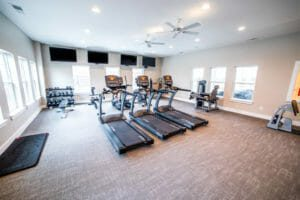 treadmills, dumbbells, and other gym equipment