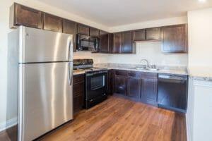 stainless steel fridge in kitchen