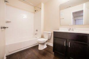 view of bathroom shower, toilet, and vanity