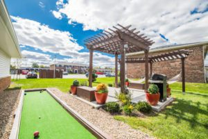 Bocce ball court and pergola are just two of the amazing amenities available at Trailside Flats in West Lafayette